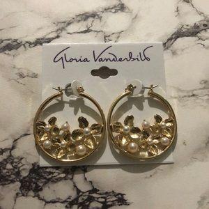 Gloria Vanderbilt hoop earrings with flowers
